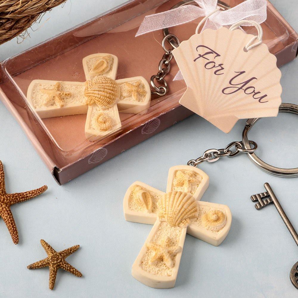 144 Beach Themed Cross Key Chains Religious Favors