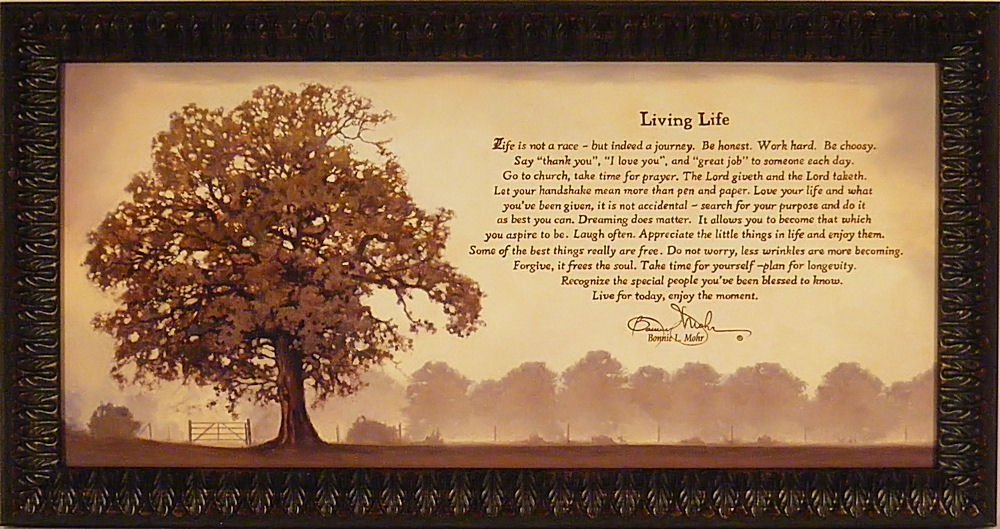 Amazon.com: Living Life By Bonnie Mohr 22x40 Life Is A Journey  Inspirational Quote Tree Framed Art Print Wall Décor Picture: Posters U0026  Prints