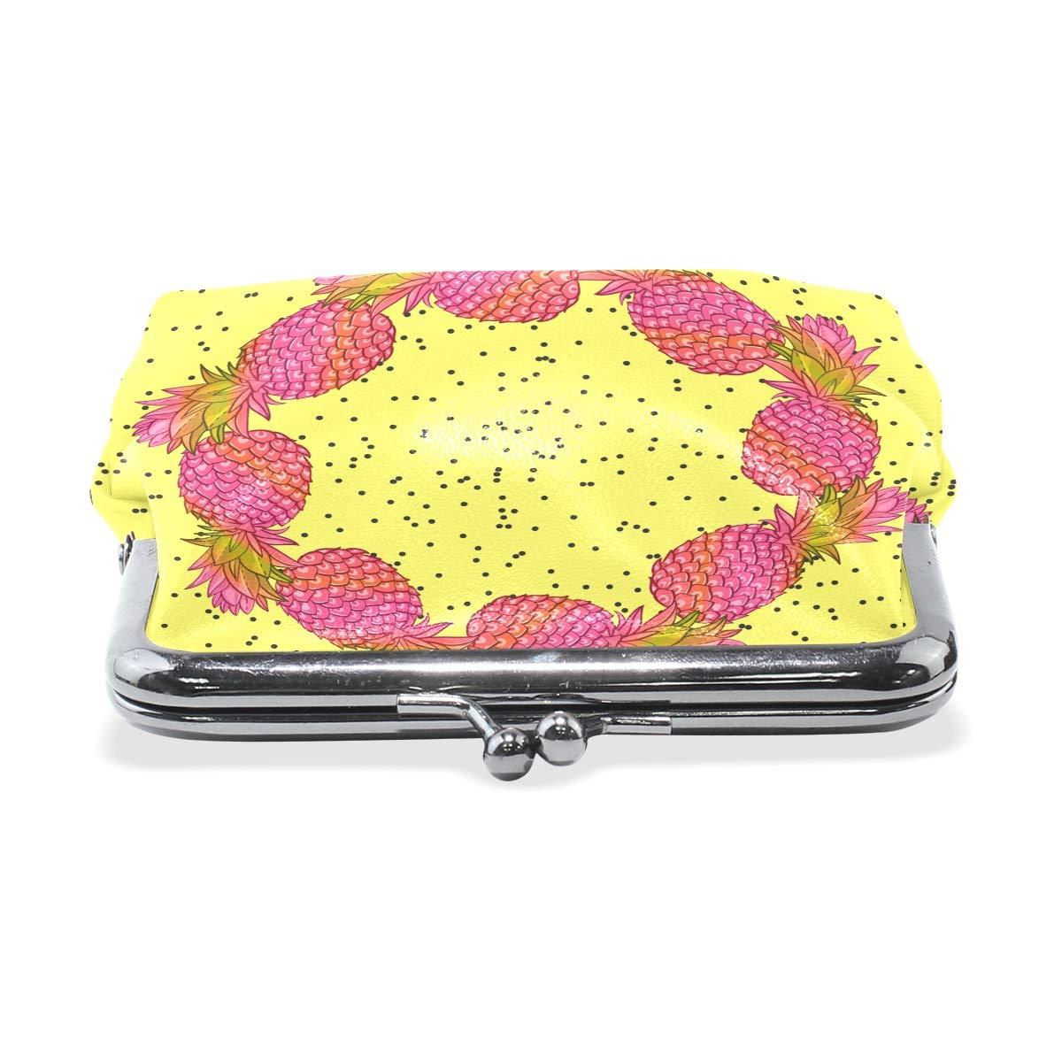 Fashion Womens Coin Purse Pineapple Wreath Vintage Pouch Mini Purse Wallets