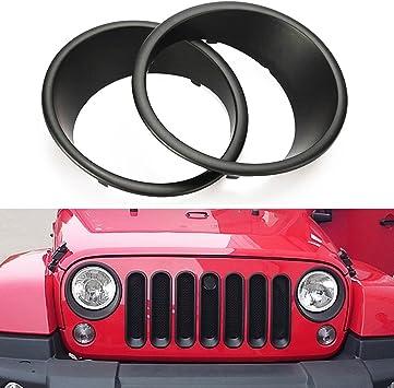Red Hound Auto 2pc Turn Signal Bezel Trim 2007-2018 Compatible with Jeep Wrangler JK Parking Light Black Pair
