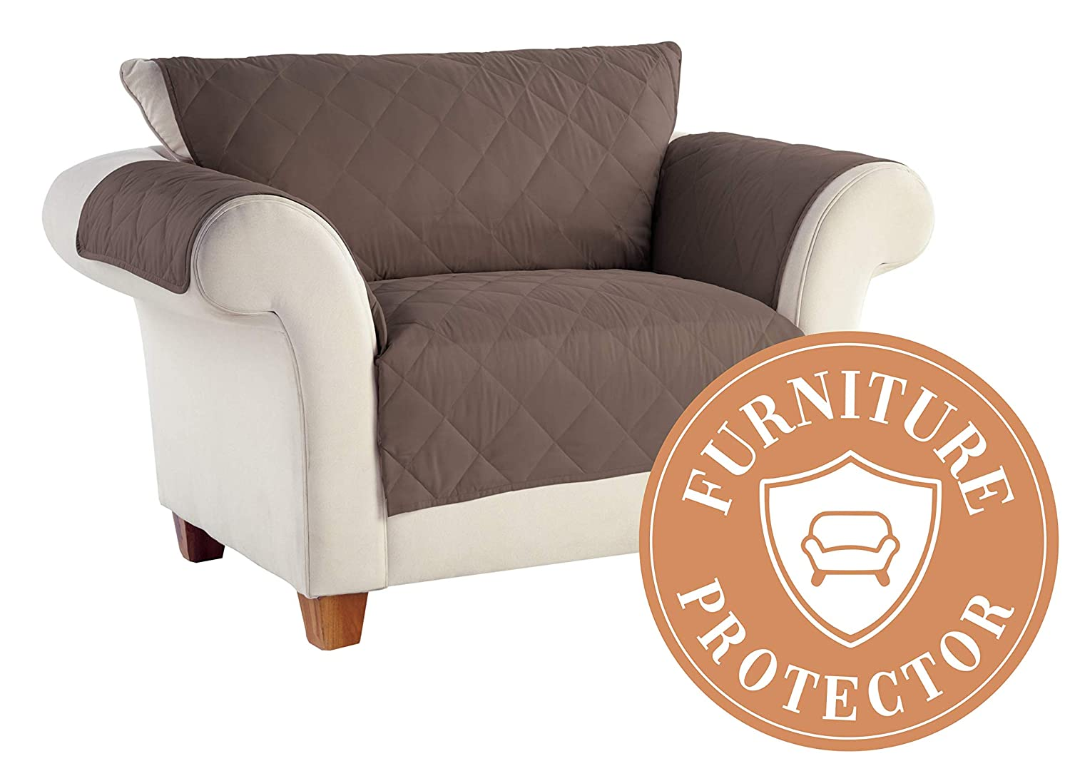 Serta | Diamond Quilted Furniture Protector for Sofa with Patended No-Slip Design & Easy-Fit Bands, (Handcast Pewter) Tailor Fit 818700