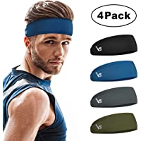 4-Pack Vinsguir Sports Non Slip Lightweight Sweat Headbands