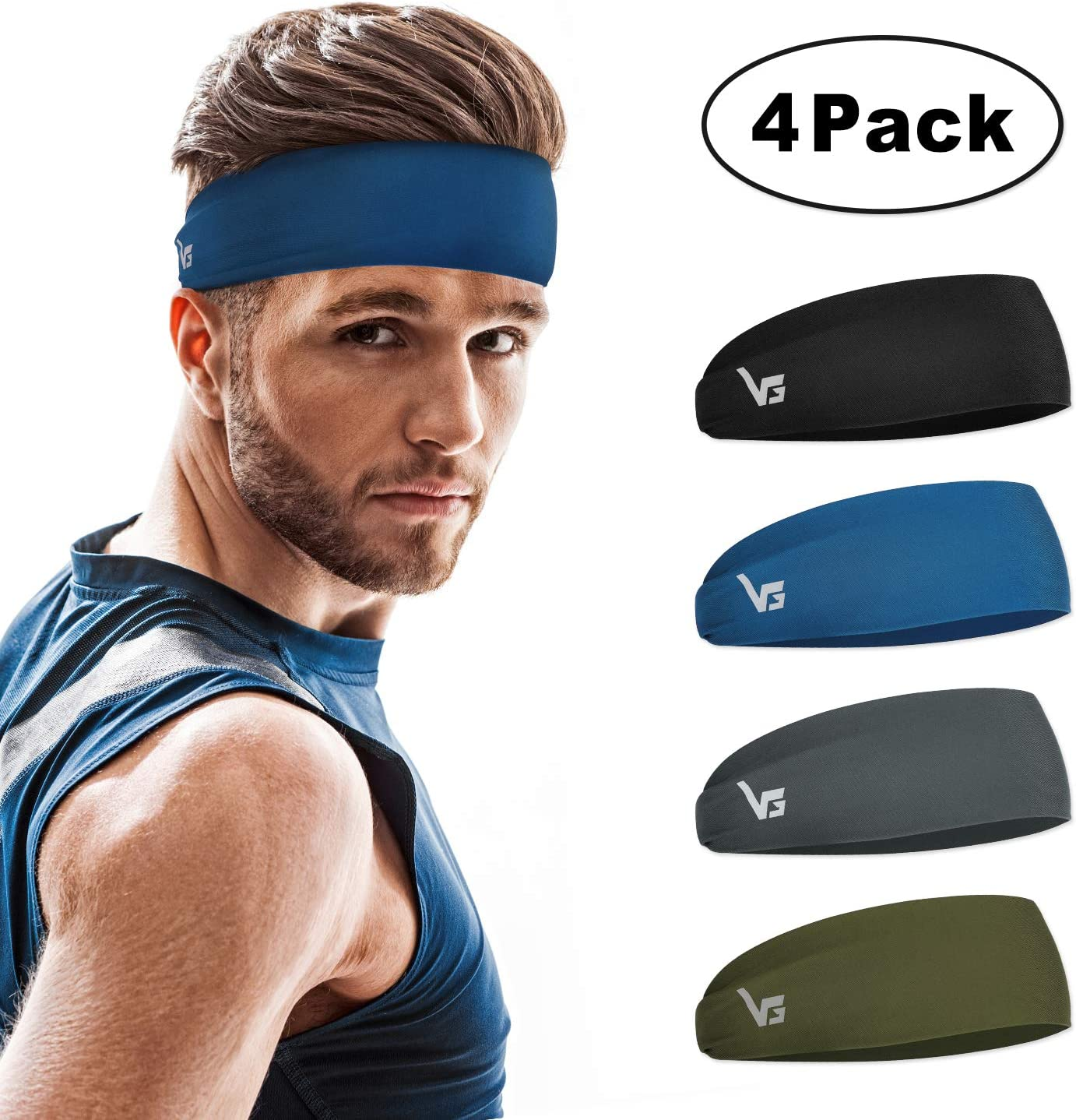 Cycling WILLBOND 6 Pieces Sweatbands Headbands for Men and Women Wicking Stretchy Sports Head Wrap Non Slip Fitness Headband Exercise Head Scarf for Running Yoga 6 Color Basketball and Workout