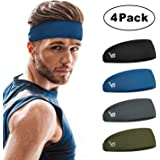 Vinsguir Sports Headbands for Men and Women (4 Pack) - Mens Headbands Sweat Band Moisture Wicking Workout Sweatbands for Running, Cross Training, Yoga and Bike - Unisex Hairband