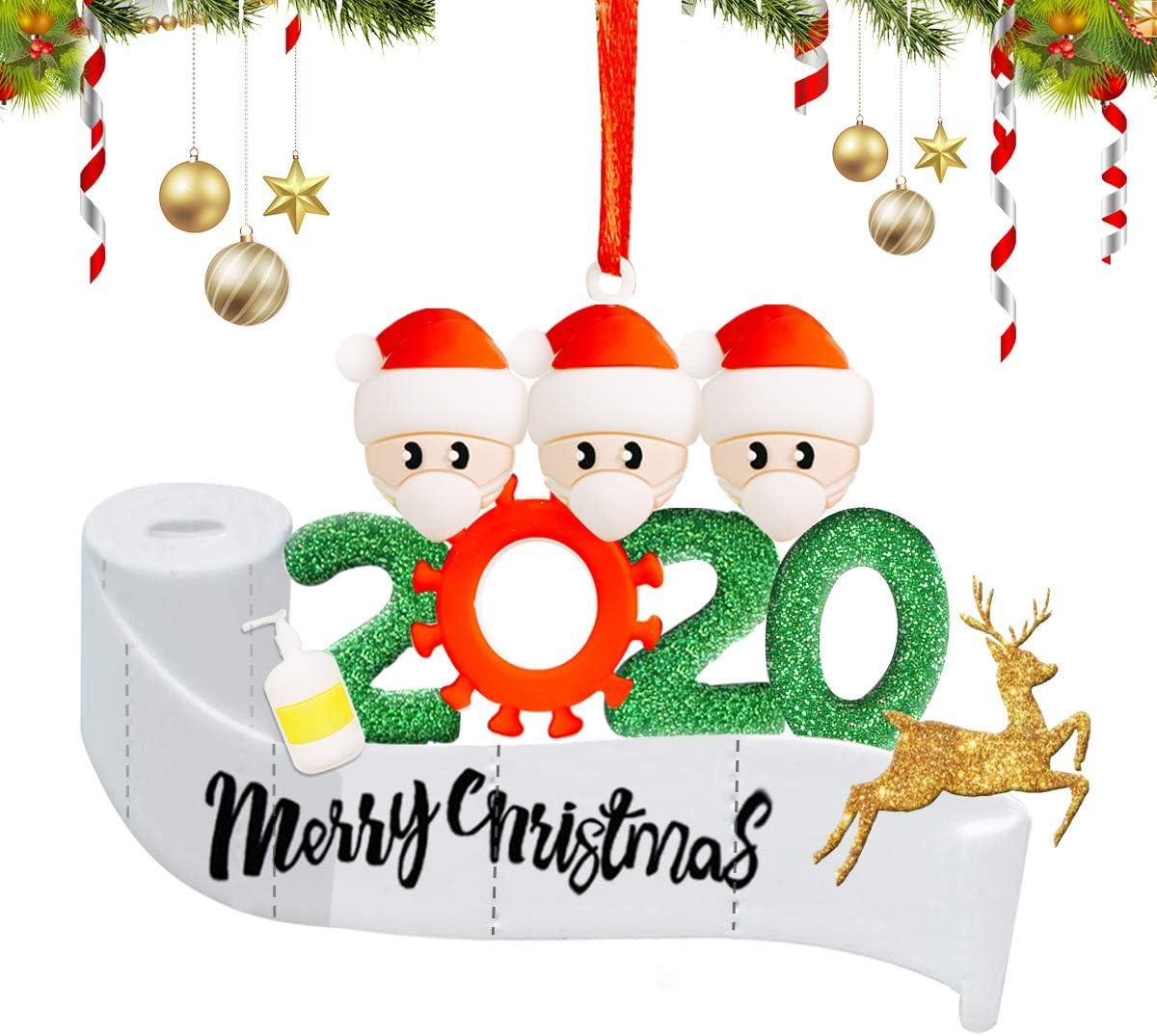 SlappyShirts Christmas Ornament Kit, Quarantine Survivor Personalized Name 2020 Christmas Ornament, Family of 4 Customized Christmas Decorating Set Holiday Creative Decorating Gift for Family