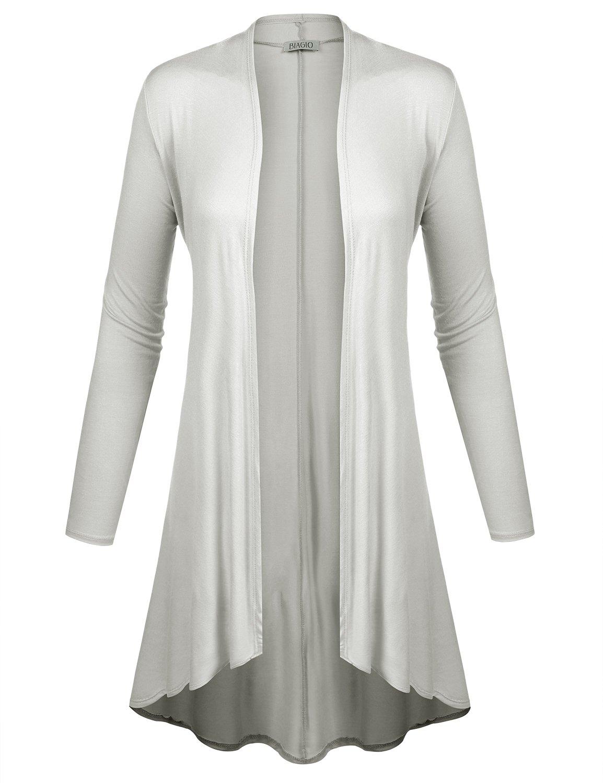 BIADANI Women Long Sleeve Classic Lightweight Open Front Jersey Cardigan Ivory X-Large
