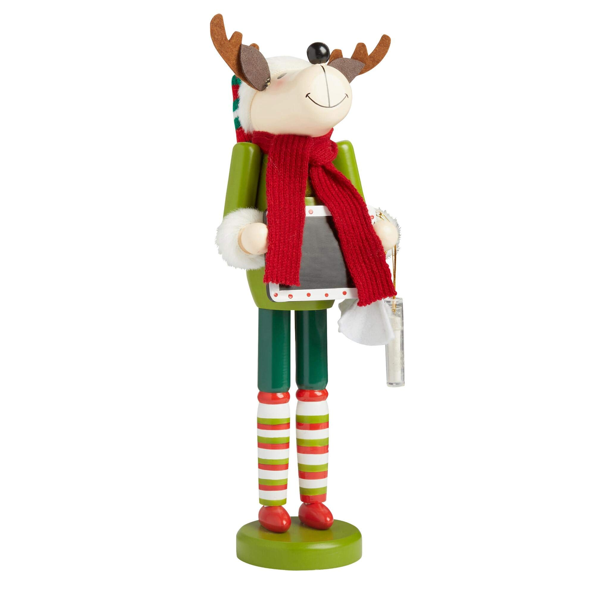 Northeast Home Goods Wooden Christmas Nutcracker Decor, 15-inch Chalkboard Reindeer
