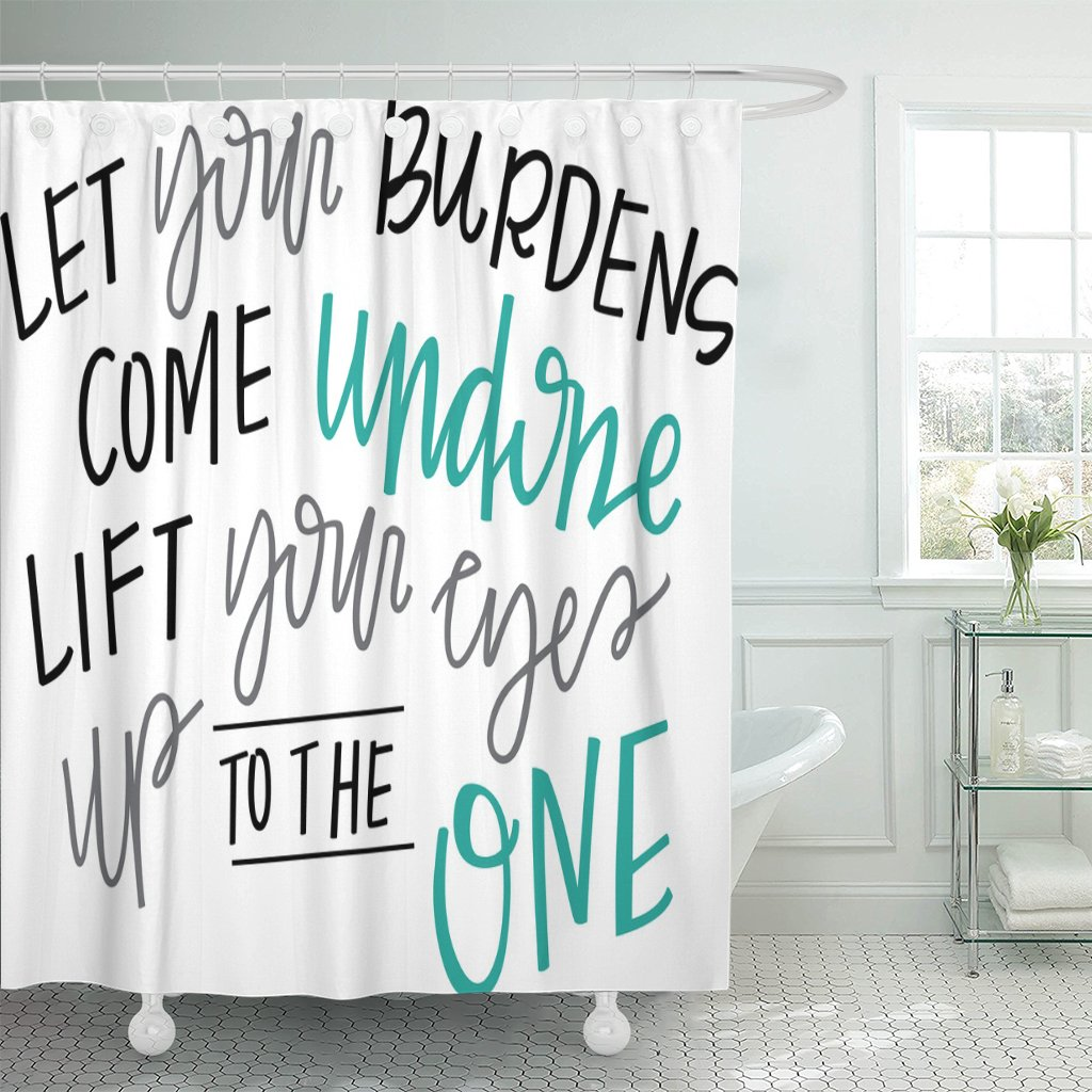 Breezat Shower Curtain Christian Let Your Burdens Come Undone Spiritual Quote Jesus Waterproof Polyester Fabric 60 x 72 Inches Set with Hooks by Breezat