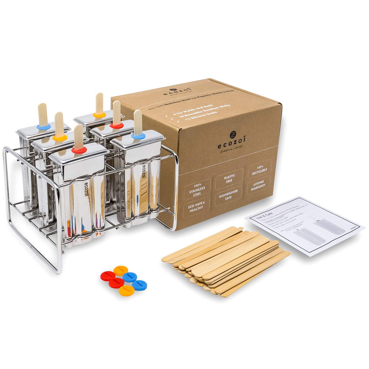Ecozoi Eco-Safe Stainless Steel Popsicle Molds and Rack - 6 Ice Pop Makers  + 30 Reusable Bamboo Sticks + 12 Silicone Seals + 1 Rack - Foodie Gear