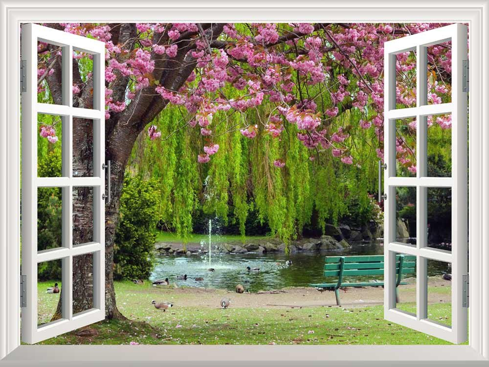 wall26 Removable Wall Sticker/Wall Mural - Cherry Blossom in Spring   Creative Window View Wall Decor - 36''x48''