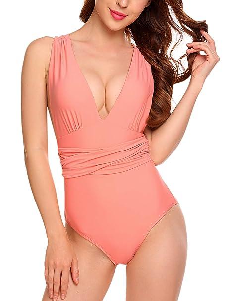 Amazon.com: Kissgal - Traje de baño de una pieza para mujer ...