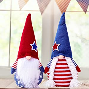 2 Pack Plush Gnome Patriotic Decorations Stars Stripes Handmade Red White Blue Decor Elf Scandinavian Tomte Doll Household Table 4th of July Ornaments for Memorial Day Independence Day Home Decor