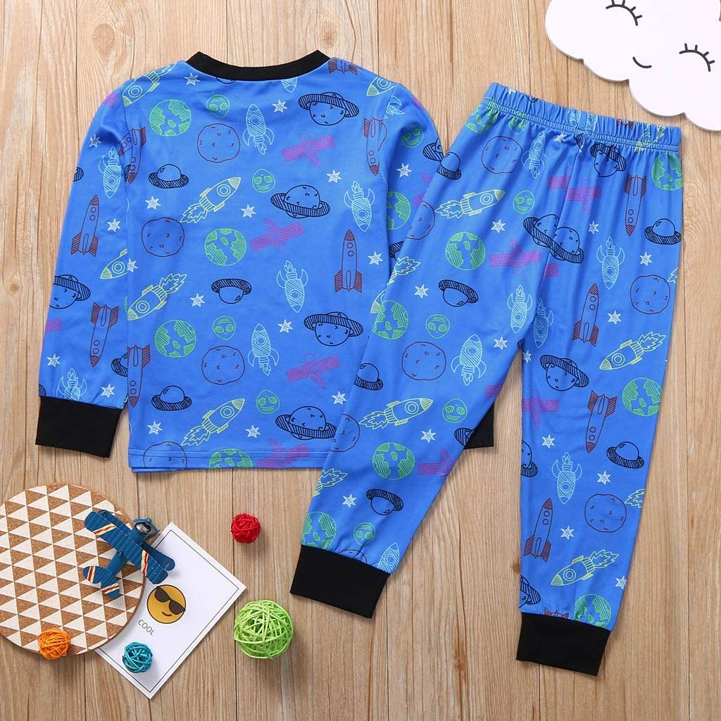 Cuteelf Kinder Langarm Raumschiff Print Top Hosen Home Service Set Junge Cartoon Flugzeug Print Top Hosen Komfortable Home Geeignet Fashion Pyjamas Set