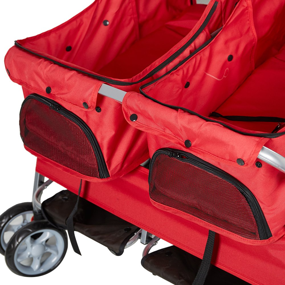 Livebest Folding 4-Wheels Pet Stroller Small Animals Carrier Easy Walk Travel Jogger with 360 Rotating Front Wheel for Two Cats or Dogs by Livebest (Image #4)