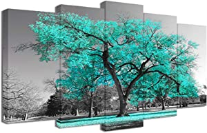 Visual Art Decor Large 5 Pieces Canvas Wall Art Teal Green Tree Landscape Black and White Picture Prints Framed and Stretched Painting Wall Decoration for Modern Living Room Office