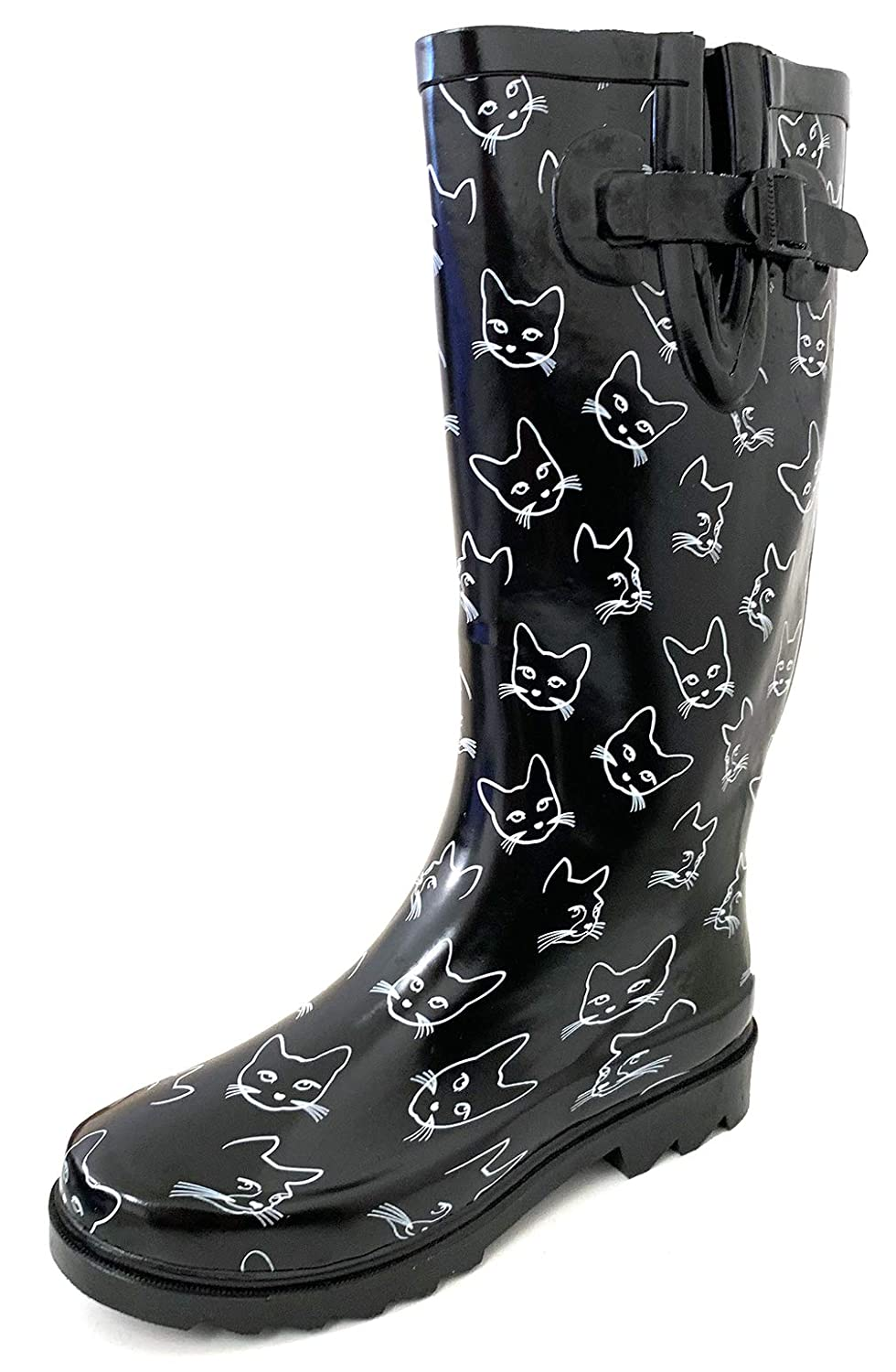 Black White Cats G4U Women's Rain Boots Multiple Styles color Mid Calf Wellies Buckle Fashion Rubber Knee High Snow shoes