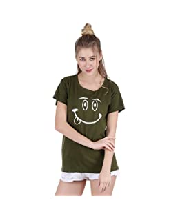 Broadstar Women's Cotton Olive T-Shirt (T_Smily_Olive-XL)
