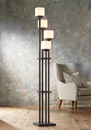 Light Tree Four Light Bronze Torchiere Floor Lamp Floor Lamps