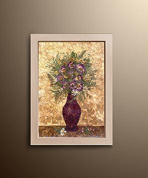 Fait à la main Oshibana Floral Peinture Violet Vert pressé Fleurs ...
