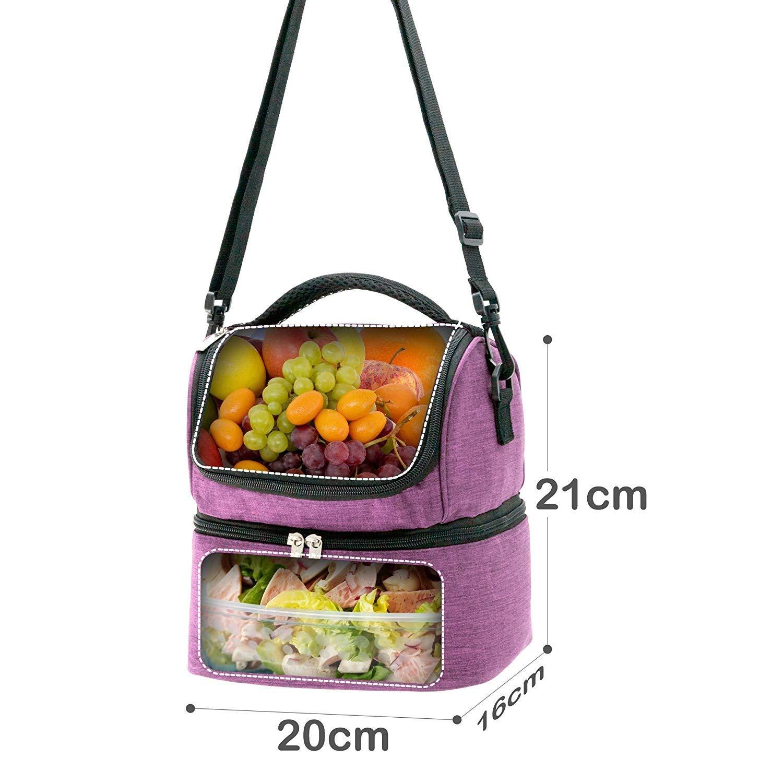 Decocasa Térmica Porta Alimentos, Bolsa Isotérmica con Dos Compartimentos para Almuerzo Comida, 6 litros, Morado, 6L