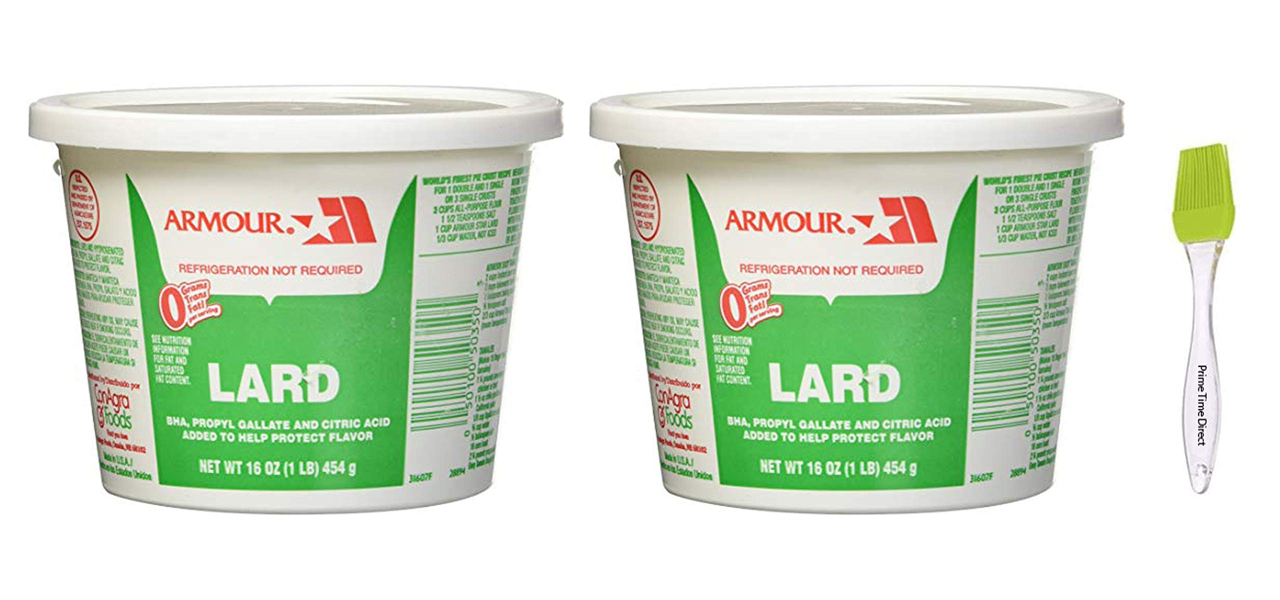 Armour Lard Star Tubs 16 oz (Pack of 2) Bundled with PrimeTime Direct Silicone Basting Brush in a PTD Sealed Bag