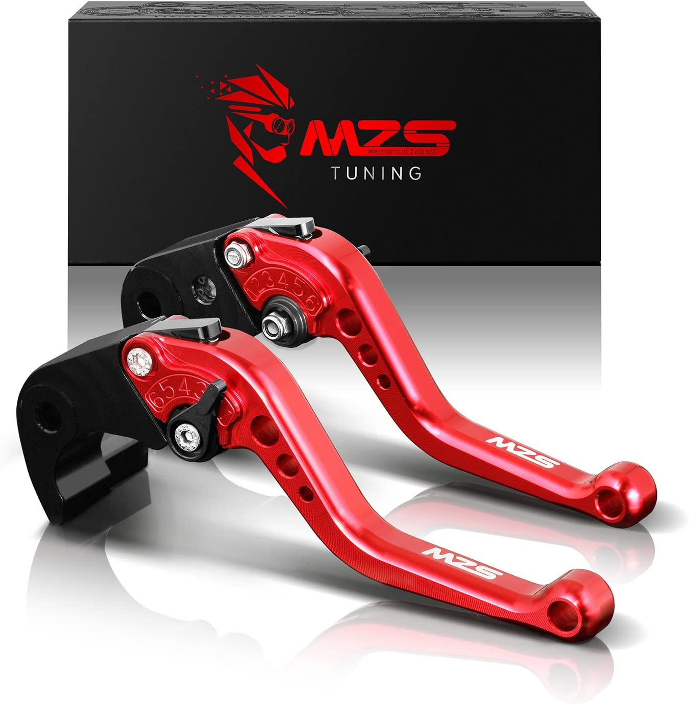 MZS Short Brake Clutch Levers Compatible with Kawasaki Versys 650 KLE650 2015-2019| Versys 1000 KLZ1000 2015-2019| Vulcan S 650 2015-2019| NINJA 650R 2017-2019| Z650 Z900 ER-6F 2017-2019 Red
