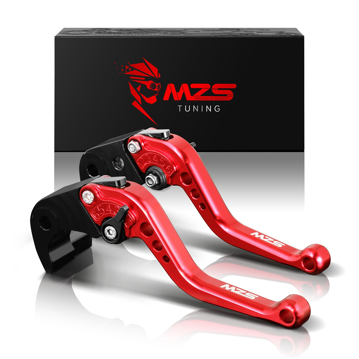 MZS Short Brake Clutch Levers for Yamaha FZ-09 MT-09 SR 2014-2018/ SCR950 2017-2018/ XJ6 DIVERSION 2009-2015/ XSR 700 ABS 2016-2018/ XSR 900 ABS 2016-2018/ XV 950 Racer 2016-2018 Red by MZS