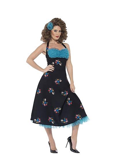 SmiffyS 42897M Disfraz De Cha Cha Digregorio De Grease Con Vestido Sin Espalda Y Pinza, Negro, M - Eu Tamaño 40-42