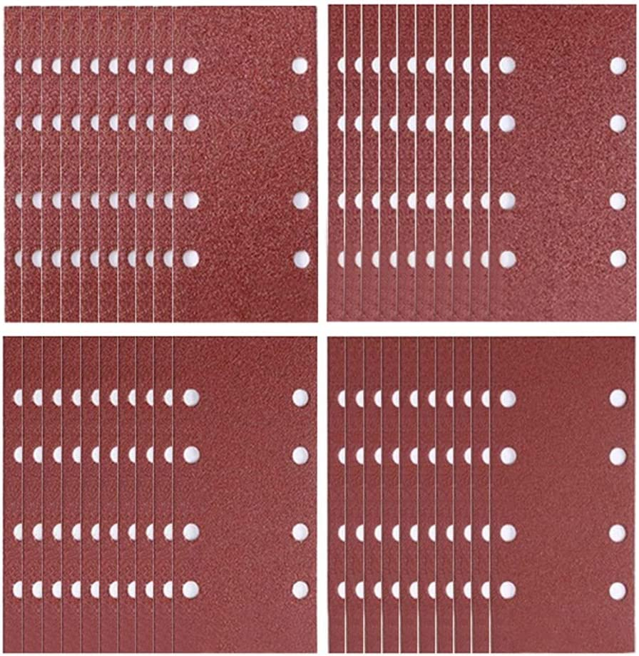 Lot de 40 feuilles abrasives 93 x 185 mm pour ponceuse orbitale 8 trous assortis Grain 40//60//80//120