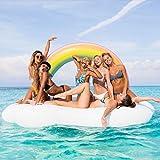 Jasonwell Riesiger aufblasbarer Regenbogen-Wolke Pool Floß Luftmatratze schwimmen Floß PVC Aufblasbarer Schwebebett Wasserspielzeug Sommer Schwimmbad Wasser Ring Floß Strand Ozean Spielzeug Outdoor für Kinder Erwachsene Mädchen