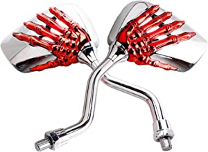 Pairs of Distinctive Skull Skeleton Hand 8mm 10mm Rearview Side Mirror for Motorcycle Scooter Moped Bike Yamaha Suzuki Standard Bike (Red)