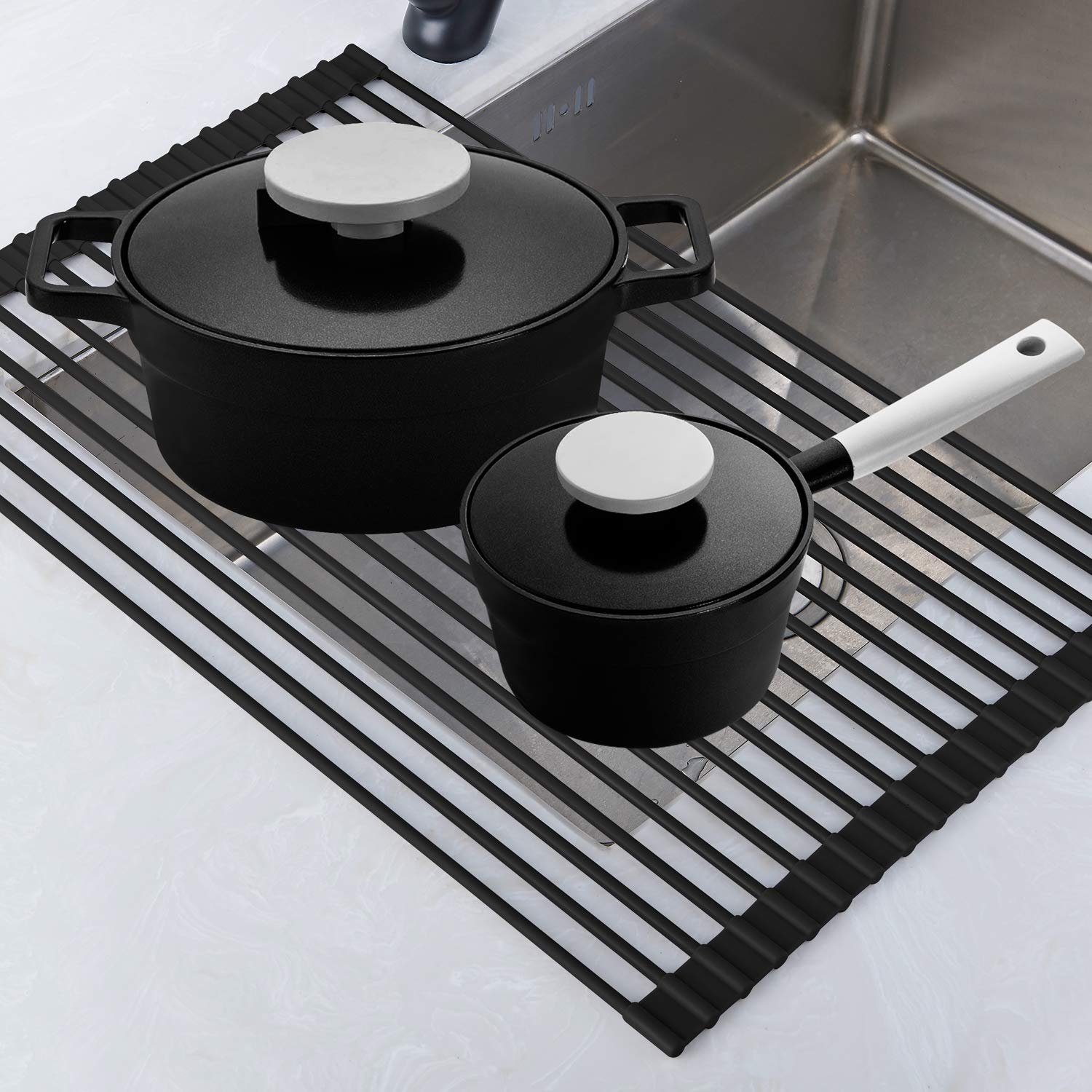 Collapsible Dish Drying Rack-In The Sink Drying Mat-Multipurpose Dish Drainer-Rv Dish Drying Rack-Fruits and Vegetable Rinser-Durable Silicone Covered Stainless Steel Gray Roll Up Rack TECI TCF001G