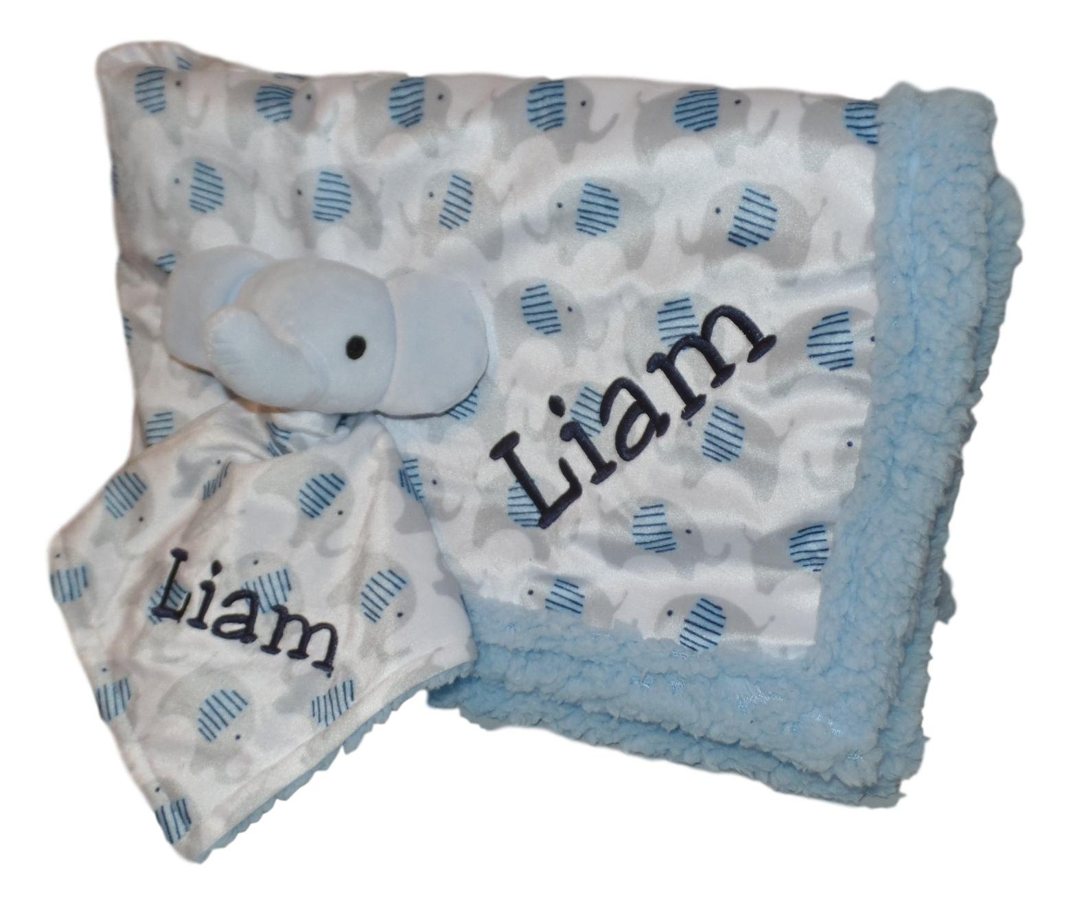 Plush Custom Embroidery Name Baby Blanket (30 x 40 inch) With Lovey Blanket - Excellent Gift Idea (Custom Embroidery Blue Elephant)
