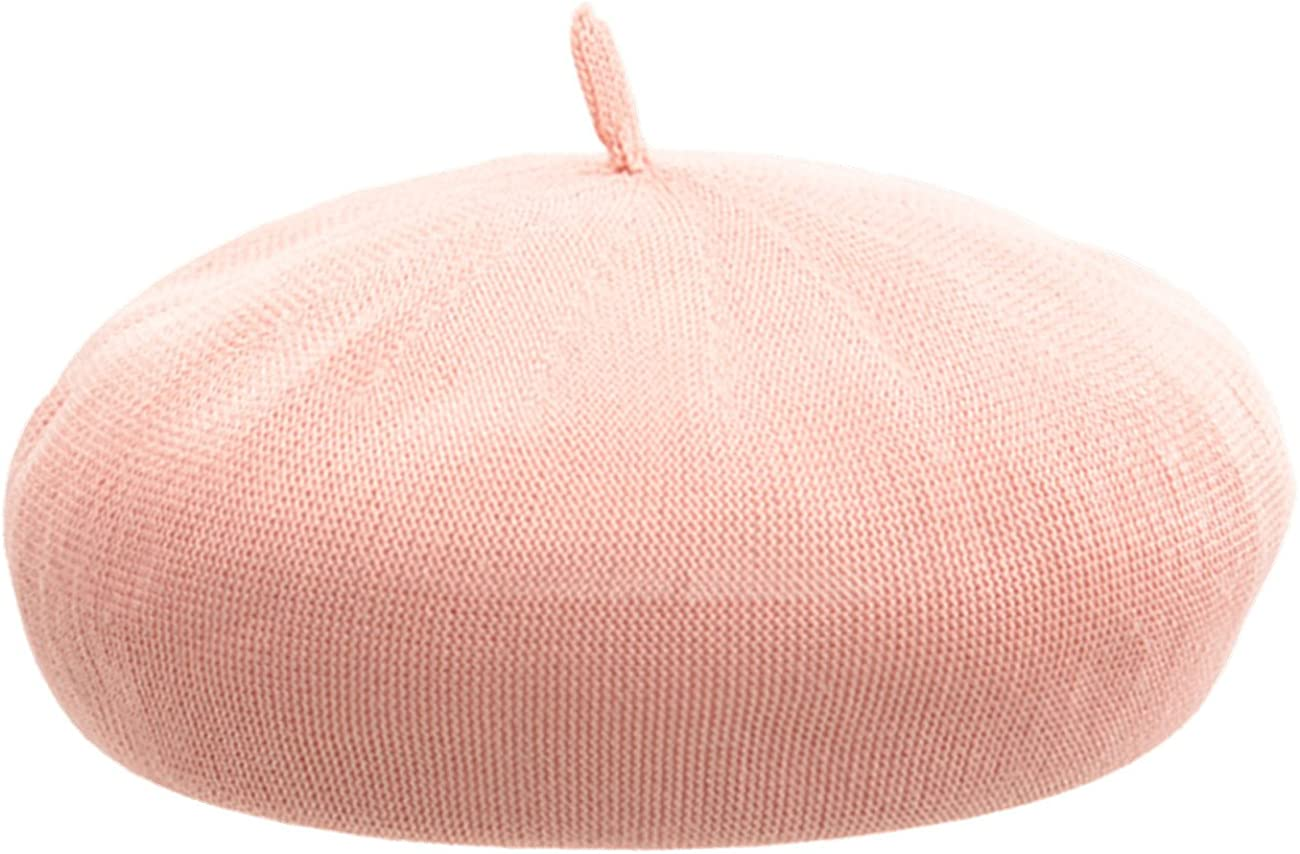 JOYHY Womens Solid Summer Breath Knitted Artist French Beret Hat