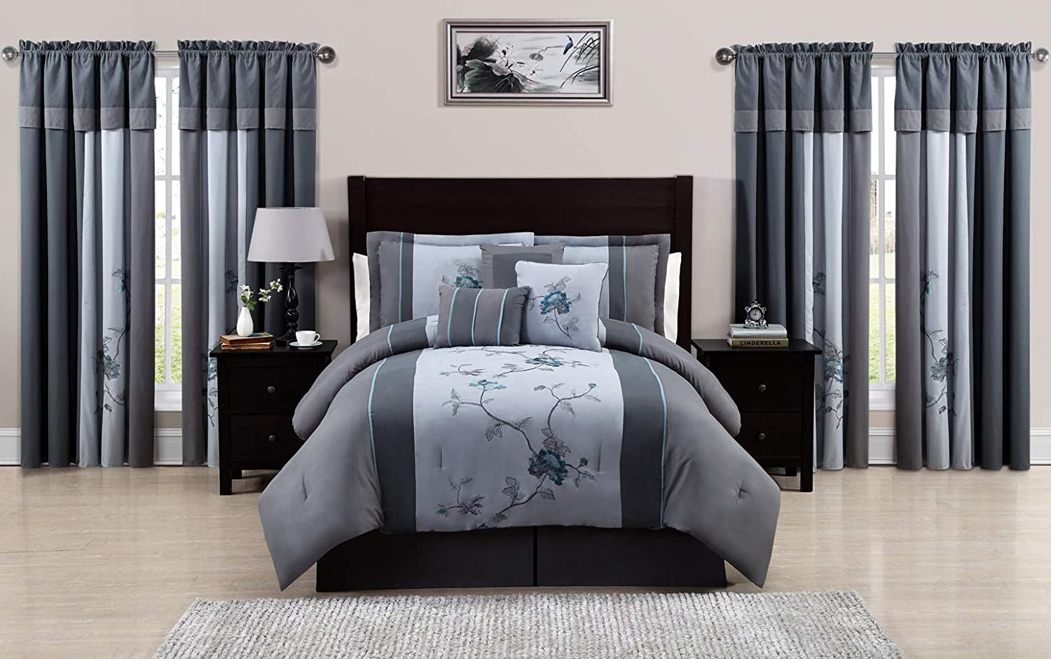 Tulsa Mall Indianapolis Mall 7-Pieces Gray Blue Embroidered Floral Bed Set in Comforter a Bag