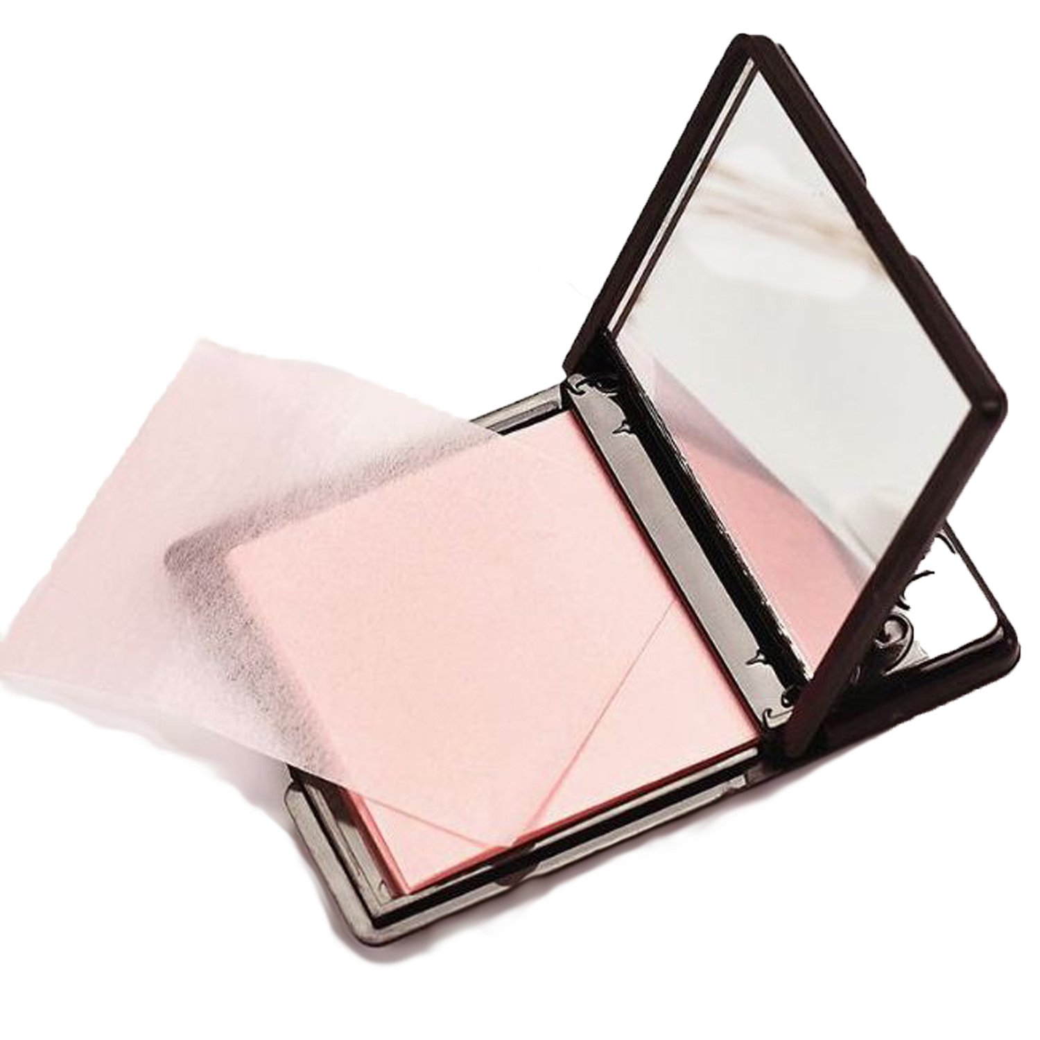 Blotting Paper Beauty Control Oil Absorbing Tissues Face Facial Make Up Sheets Pink Colour 50 pcs with Mirror Black Plastic Cover Chocokyka