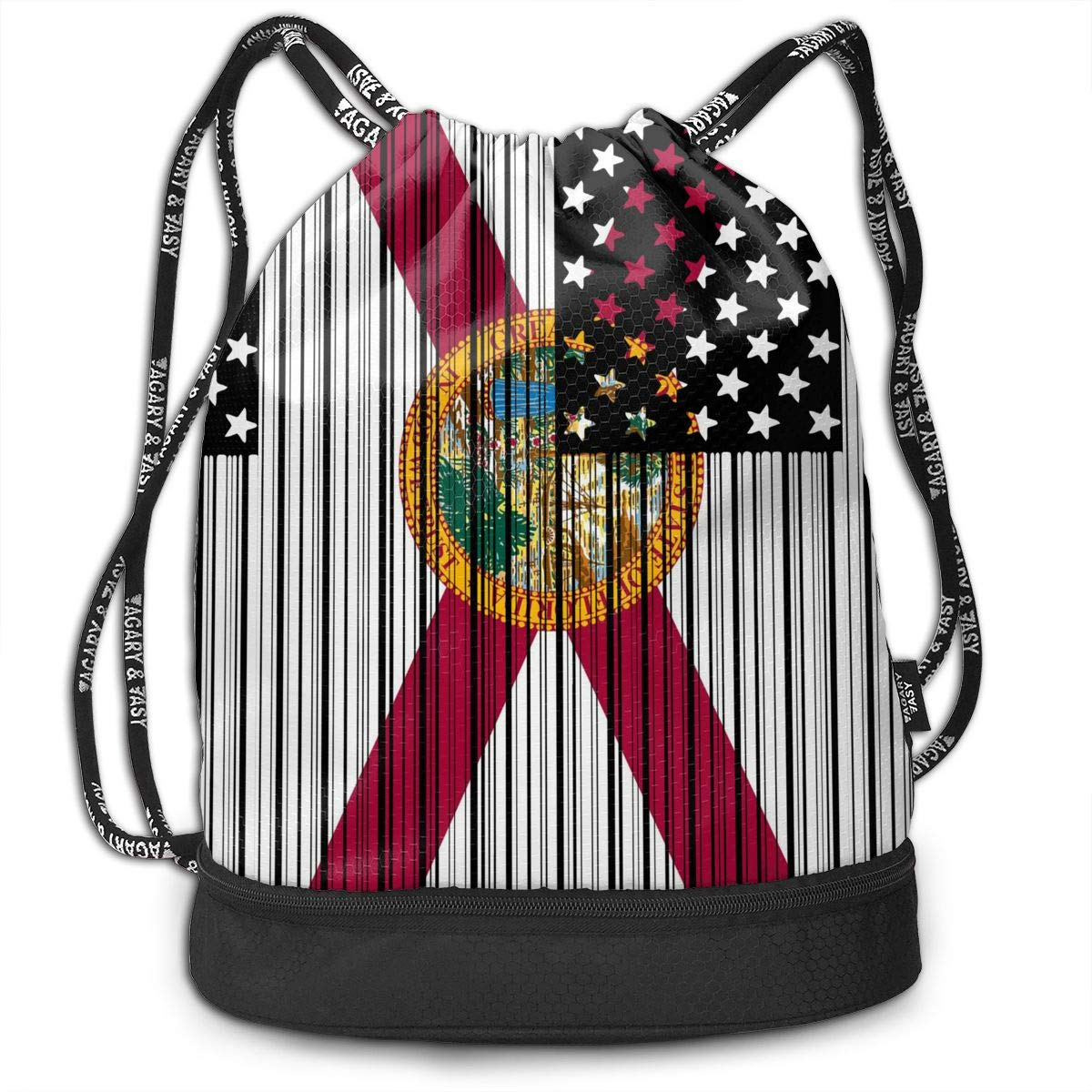 Bar Coded USA Florida Flag Drawstring Bag Multifunctional String Backpack Custom Cinch Backpack Sport Gym Sack
