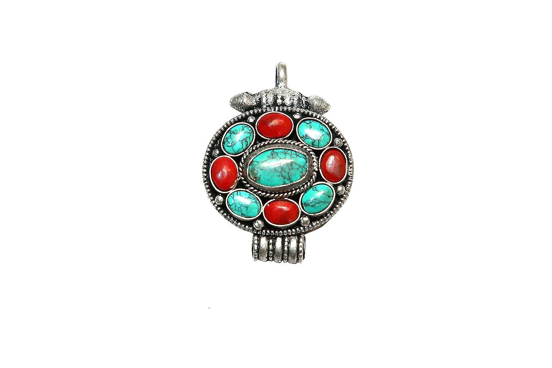 Turquoise Lapis prayer box Pendant design based on tibetan jewelry coral