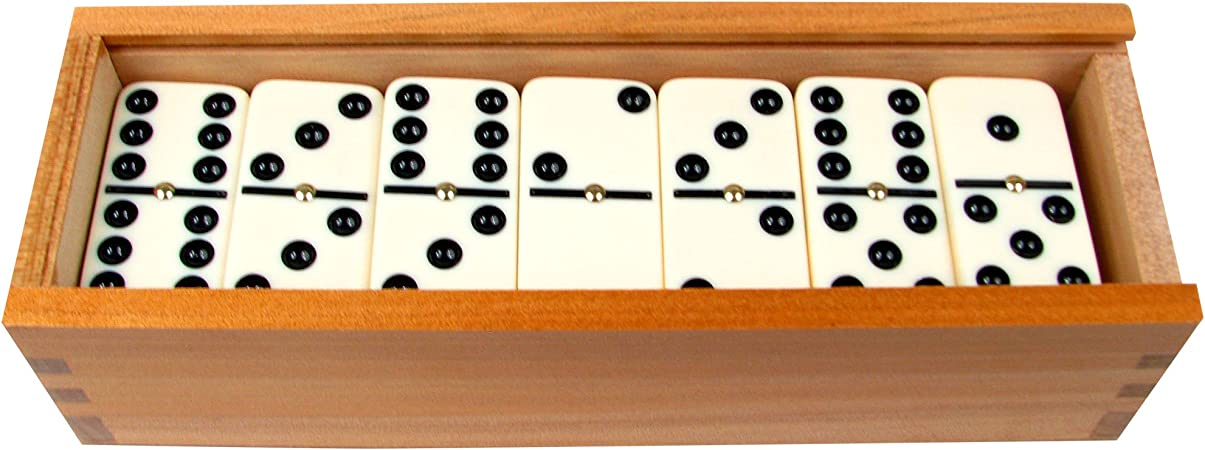 Trademark Games Premium Set of 28 Double Six Dominoes with Wood Case, Brown: Amazon.es: Juguetes y juegos