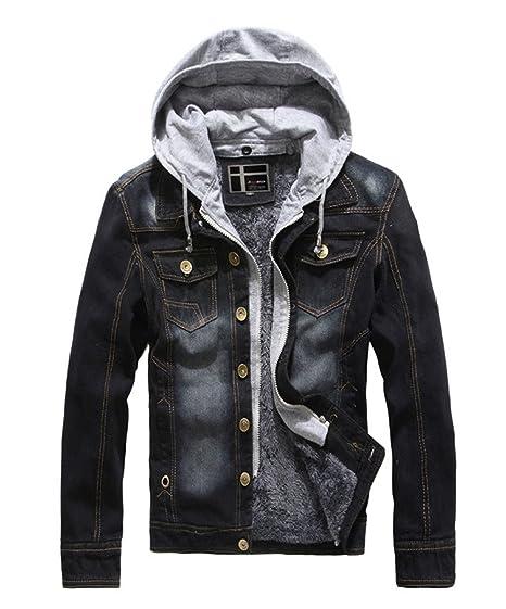 b488e0fd7bbef Yollmart Men s Winter Lined Fleece Denim Hooded Jacket Casual Jeans Coats(Black  ...
