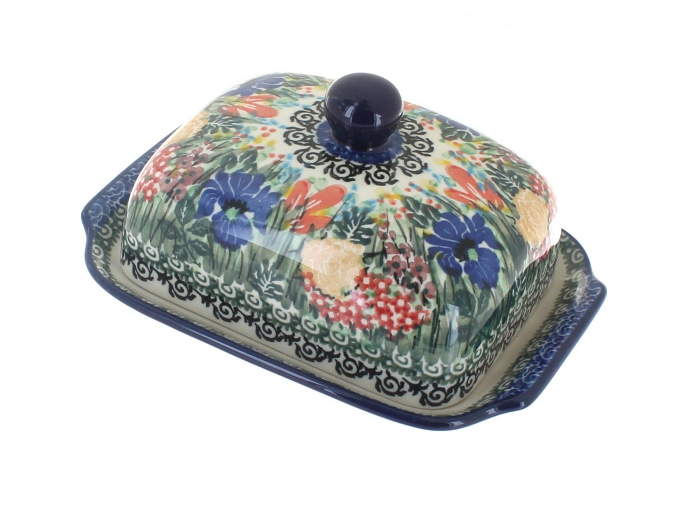 Polish Pottery Summer Blooms Butter Dish