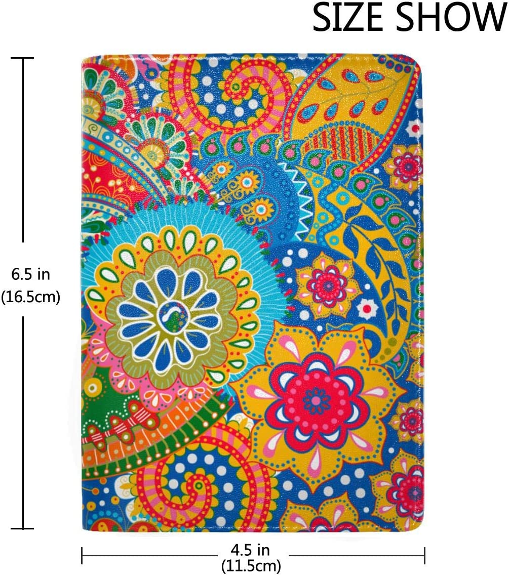 Colorful Paisley Floral Fashion Leather Passport Holder Cover Case Travel Wallet 6.5 In