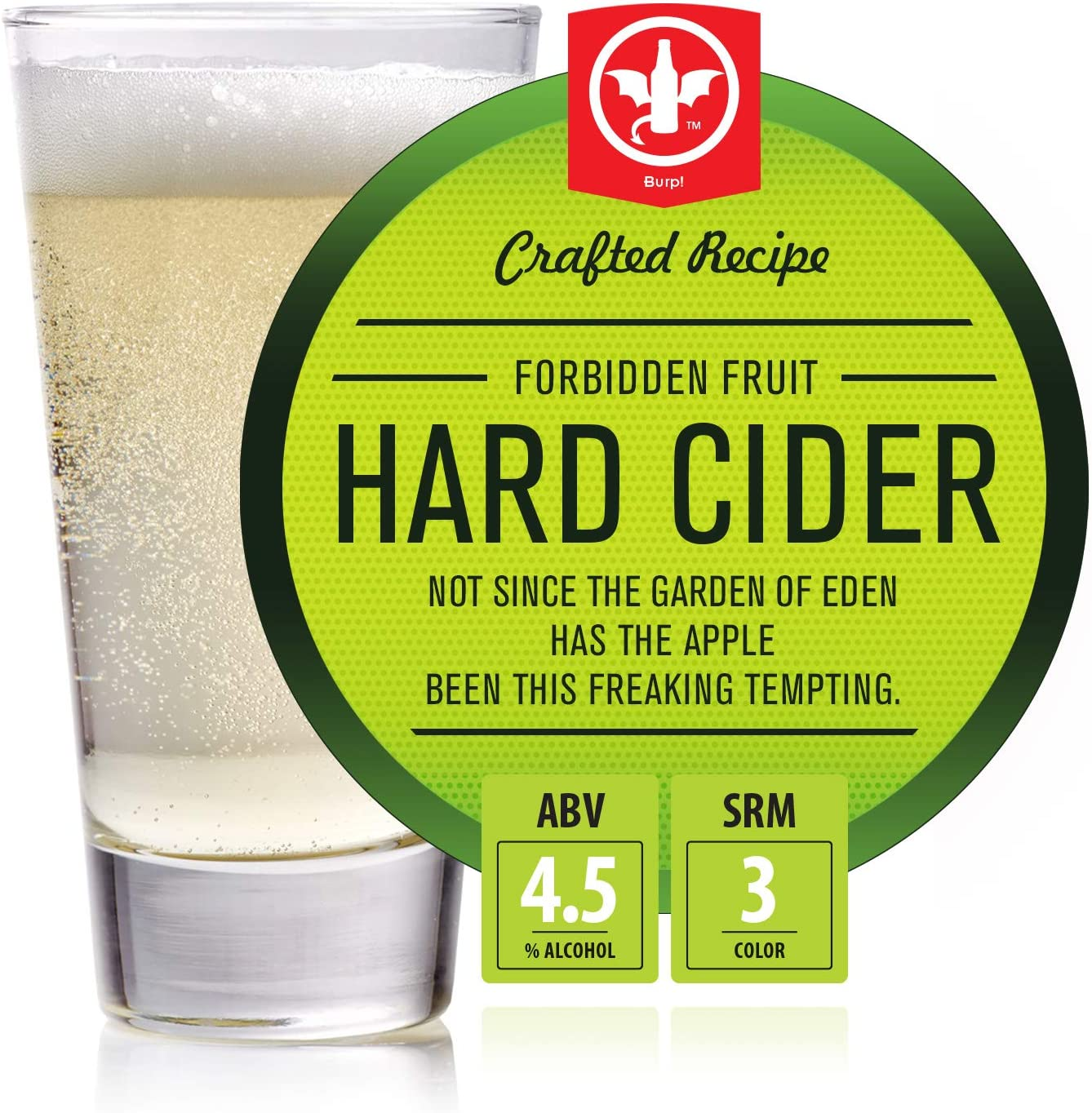 BrewDemon 2 Gal. Forbidden Fruit Hard Cider Recipe Kit - Makes a Wicked-Good 4.5% ABV Batch of Craft Brewed Hard Cider
