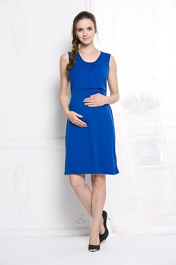 XFentech Mujeres Verano Ropa de Lactancia Vestidos Embarazadas Maternidad Madres Prenatales y Postnatales Color Sólido Sin Mangas Casual Vestido Largo, ...