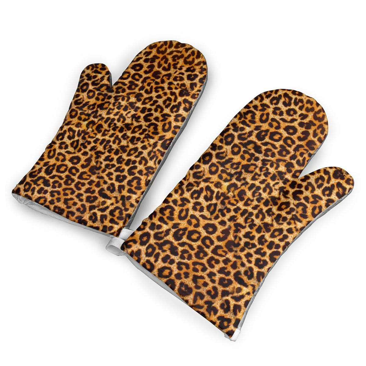 Leopard Print Heat Resistant Kitchen Oven Mitt with Non-Slip Printed, Set of 2 Oven Gloves for BBQ Cooking Baking, Grilling, Barbecue