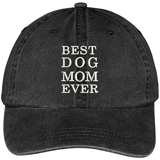 46807c2d68c Trendy Apparel Shop Best Dog Mom Ever Embroidered Soft Fit Washed Cotton  Baseball Cap - Black