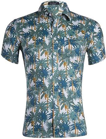 Camisas para hombre Patrón de árbol para hombre Camisa hawaiana Playa de vacaciones de verano Camisa