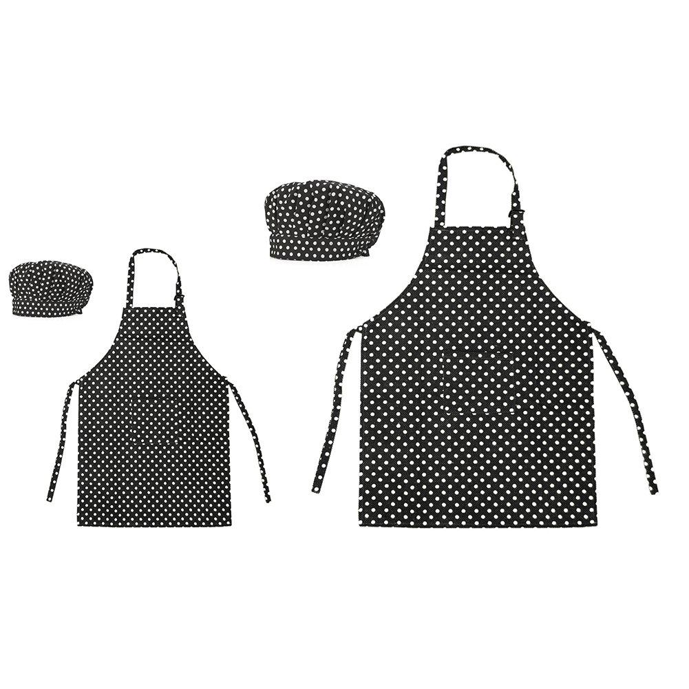 Opromo Colorful Cotton Canvas Kids Aprons and Hat Set, Party Favors(S-XXL)-Black Dot Parent Child Set-XL