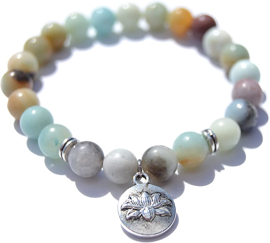 Pulsera Amazonita Moda yoga Chakras de Cuentas preciosas semipreciosas de piedras Naturales para Hombre Mujer ideal para Yoga, Reiki, Chakras, ...
