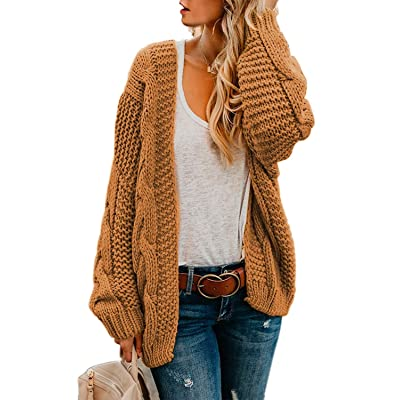 Astylish Women Open Front Long Sleeve Chunky Knit Cardigan Sweaters Loose Outwear Coat S-XXL at Women's Clothing store